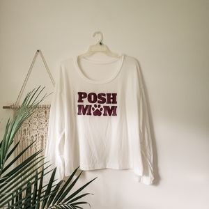 Sweaters - NWOT Posh Mom Oversized White Pullover Shirt